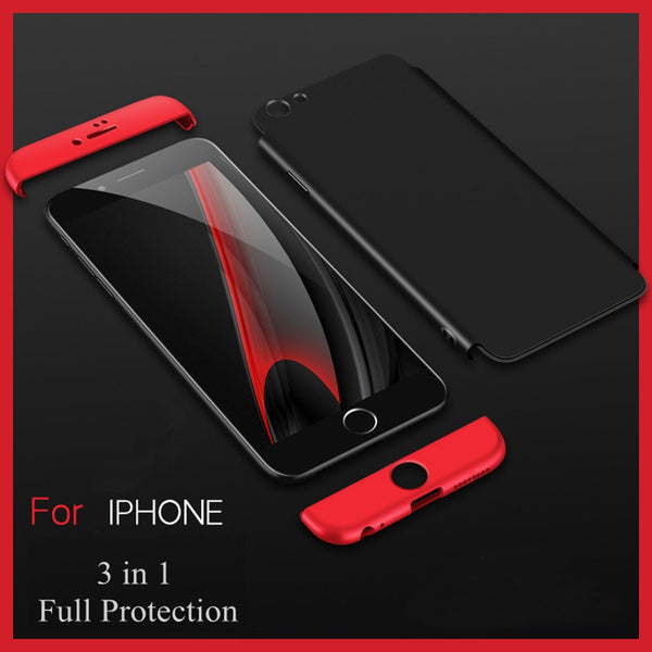 Premium Ultra Slim 3in1 360 Body Full Protection Hard Matte Front + Back Cover for Apple iPhone 8