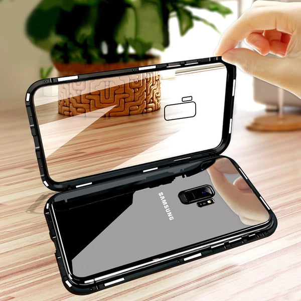 Luxury Electronic Magnetic Alloy Auto Fit Glass Back Case for Samsung Galaxy A6 Plus