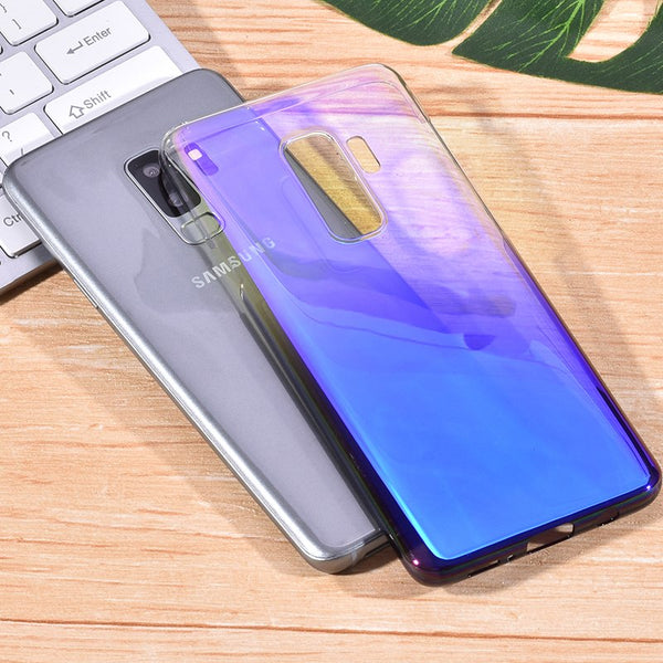 Luxury Blue Ray Laser Gradient Dual Color Hard Back Case Cover for Samsung Galaxy S9 Plus