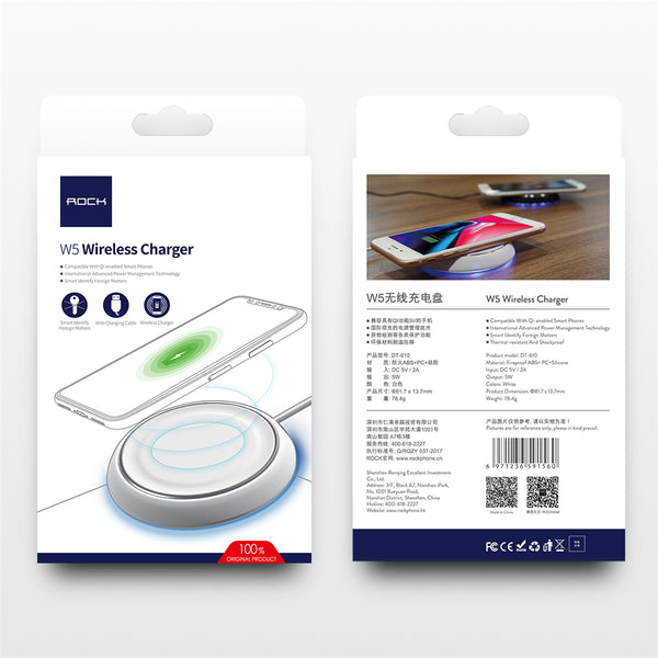 ROCK W5 Fast Charging Pad Qi Wireless Charger For iPhone X 10 8 Samsung Note 8 S8 Plus S7 S6 Edge