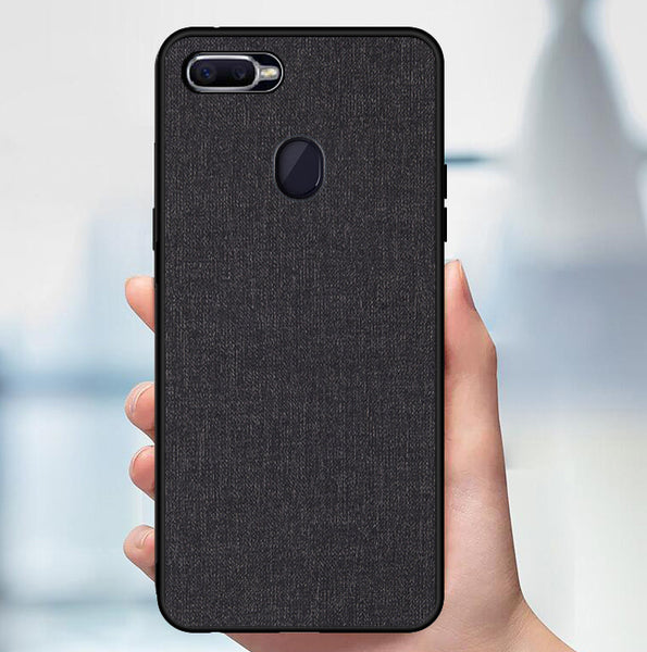 Premium Fabric Finish Soft Silicone Cloth Texture Back Case with Back Screen Guard