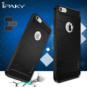 Premium iPaky Carbon Fiber Brush Finish Shockproof TPU Back Case Cover for iPhone 6 Plus