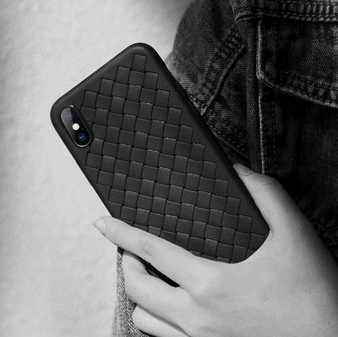 Premium Weaving Grid Breathable Soft Silicone Back Case Cover for Apple iPhone XS 2018 - BLUE