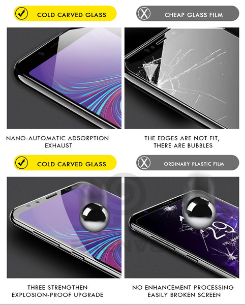 Premium Henks 5D Pro Full Screen Coverage Full Glue Curved Edges Anti Shatter Tempered Glass Screen Protector for Samsung Galaxy A7 - BLACK