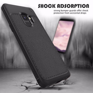 Premium Shockproof Litchi Leather Print TPU Back Case Cover for Samsung Galaxy S9