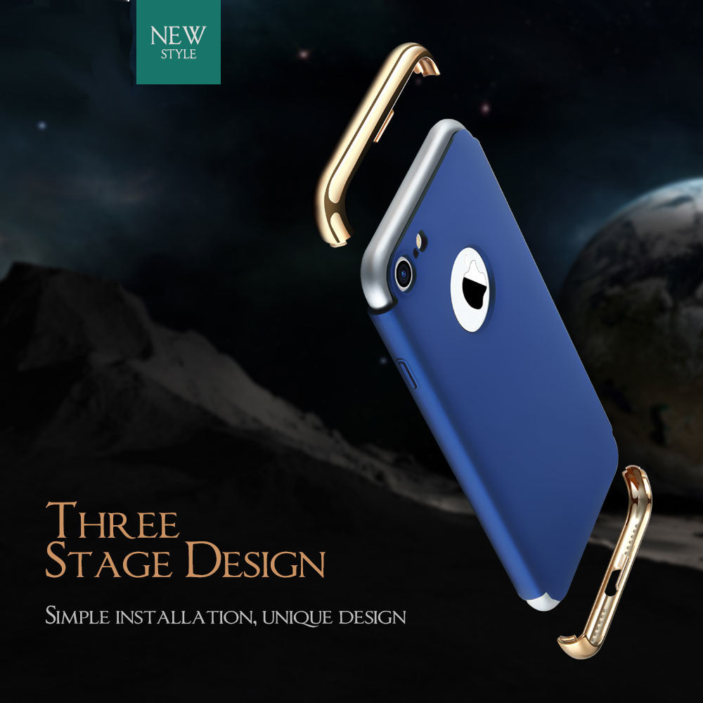 Luxury Ultra Slim 3in1 Gold Electroplating Hard Back Case Cover for Apple iPhone 8
