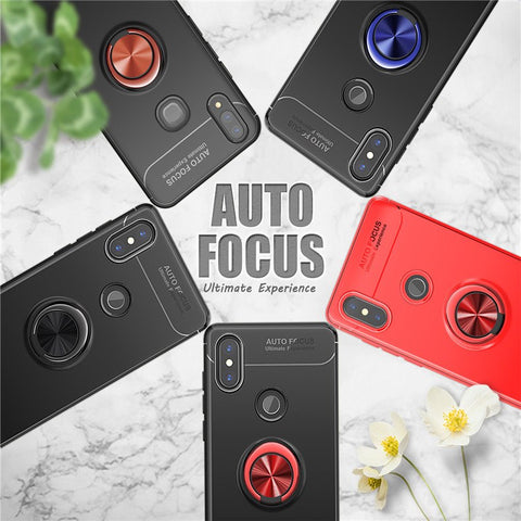 Luxury Shockproof Ring Holder Kickstand Soft TPU Back Case Cover for Xiaomi Redmi Note 6 Pro