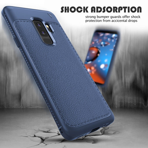 Premium Shockproof Litchi Leather Print TPU Back Case Cover for Samsung Galaxy S9 Plus
