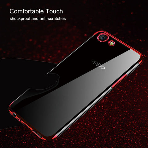 Luxury Laser Plating Utra Thin Transparent Hard Back Case Cover for Oppo F7