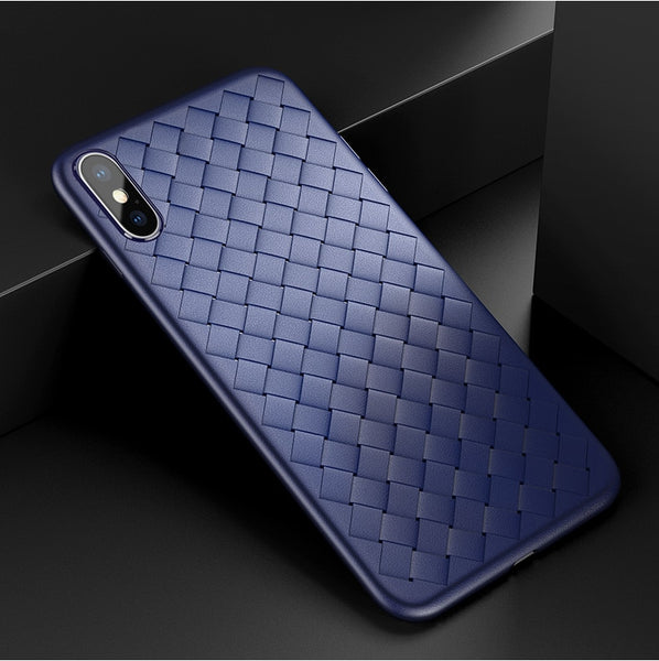 Premium Weaving Grid Breathable Soft Silicone Back Case Cover for Apple iPhone X - BLUE