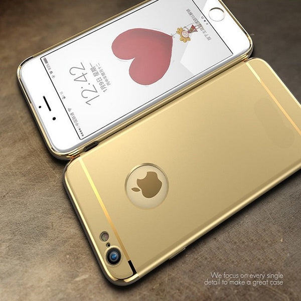 Luxury Ultra Slim 3in1 Gold Electroplating Hard Back Case Cover for Apple iPhone 6 / 6S