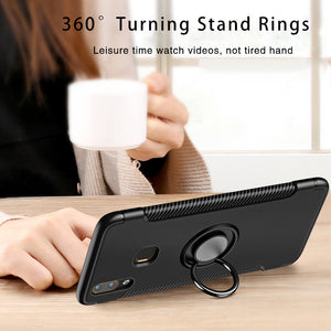 Luxury Carbon Fiber Design Shockproof Hybrid Ring Holder Back Case for Vivo V9