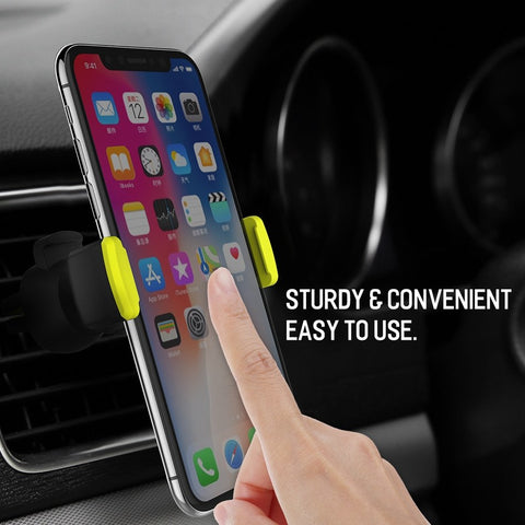 Premium Rock Adjustable Car Air Vent Universal Phone Holder Stand for 4-6 Inches Mobile Phones - BLACK