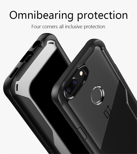 Luxury Anti Shock EAGLE Series Naked Shell Case with Soft Bumper Edges for OnePlus 5T - Black
