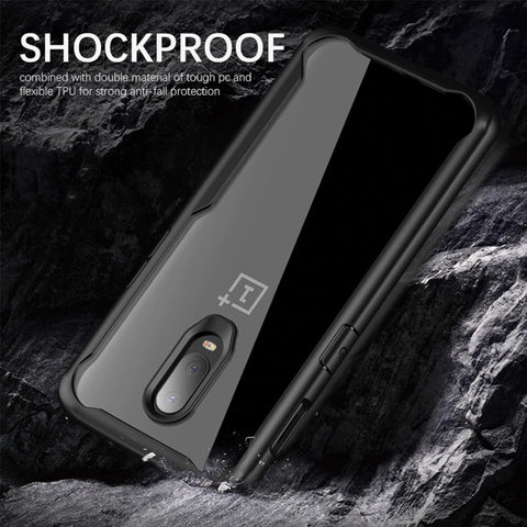 Luxury Shockproof EAGLE Series Naked Shell Clear Back Hard Case with Soft Bumper Edges for OnePlus 6T - BLACK