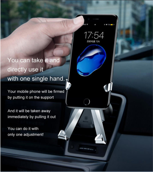 Luxury Baseus Universal X Shape Air Vent Car Mount Phone Holder For iPhone, Samsung, OnePlus, Honor, Xiaomi, Oppo, Vivo, Nokia