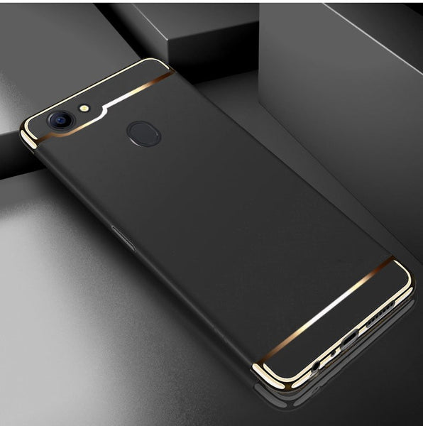Luxury Ultra Slim 3in1 Gold Electroplating Hard Back Case Cover for Oppo F5 - BLACK