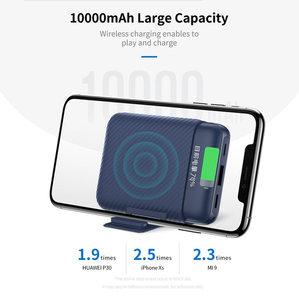 Rock® Wireless Charging Mini PowerBank 10000mAh Fast Charging with Stand
