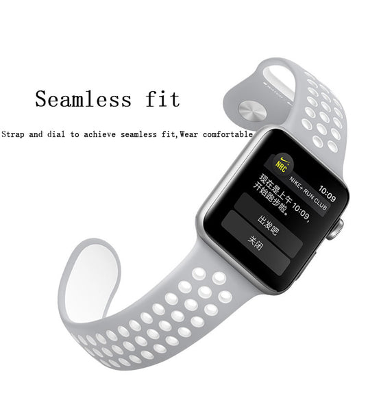 Nike Style Silicon Strap with Pores Sporty Wrist Band for Apple iWatch Series 1,2 & 3 – [42mm]
