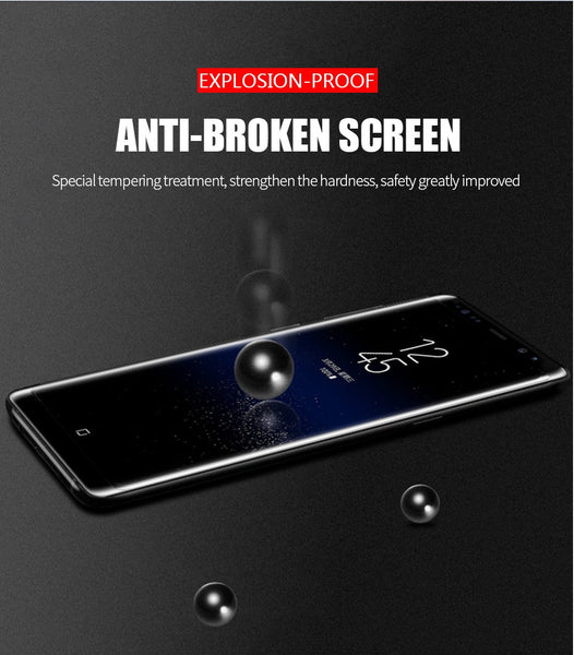 Premium Henks 5D Pro Full Screen Coverage Full Glue Curved Edges Anti Shatter Tempered Glass Screen Protector for Samsung Galaxy Note 8 - BLACK
