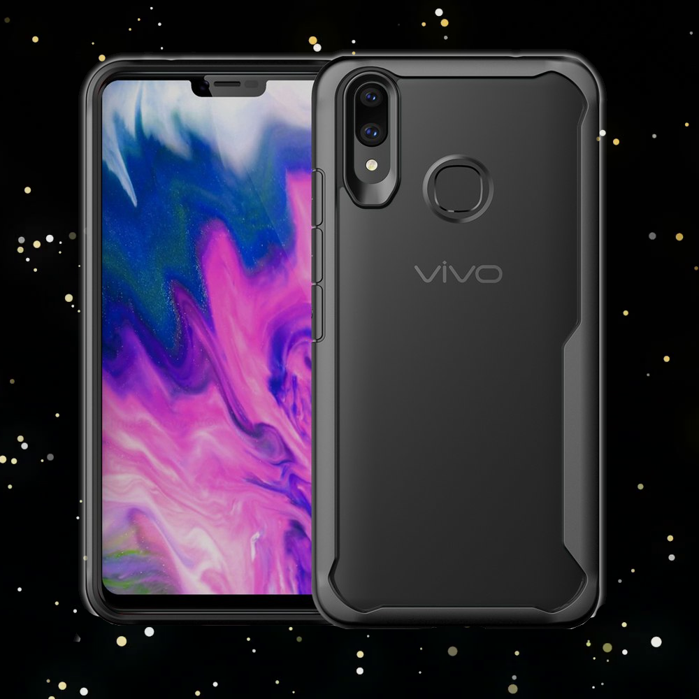 Luxury Anti Shock EAGLE Series Naked Shell Case with Soft Bumper Edges for Vivo X21 - Black