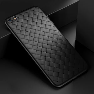 Premium Weaving Grid Breathable Soft Silicone Back Case Cover for Apple iPhone 7 - BLACK