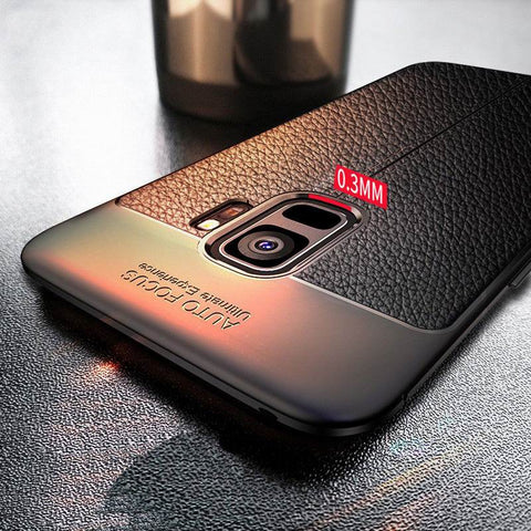 Luxury Anti-Shock Full Protective Leather Design TPU Back Case Cover For Samsung Galaxy S9