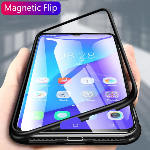 Luxury Magnetic Adsorption Metal Bumper Frame 9H Tempered Glass Back Case for Vivo V11 Pro