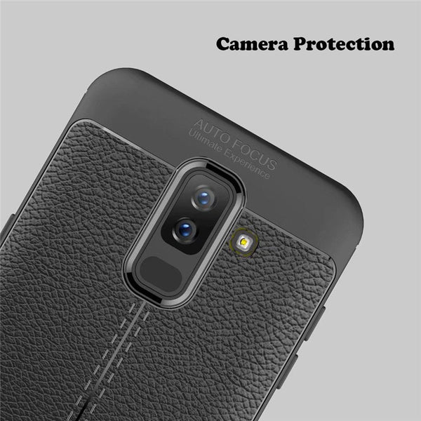 Luxury Anti-Shock Full Protective Grain Leather Design TPU Back Case For Samsung Galaxy S9 Plus