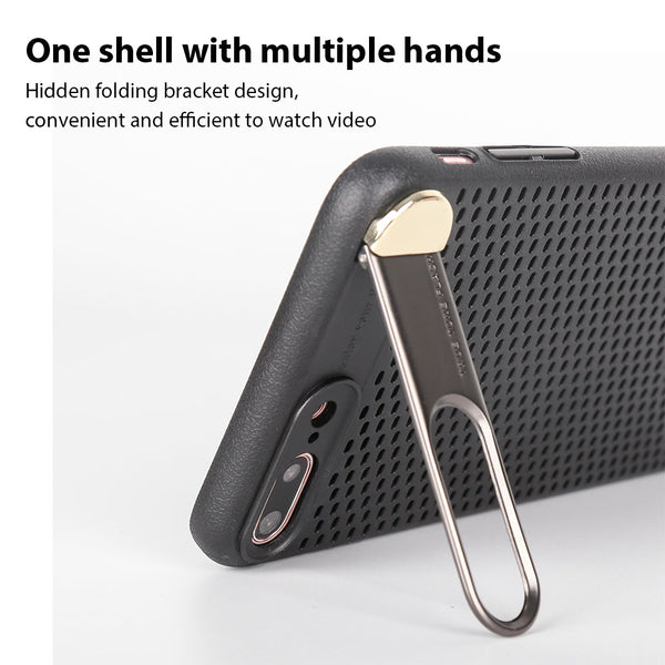 Premium Ultra Slim Metal Back Camera Protection Kickstand Hollow Shell Bracket Back Case for Apple iPhone 8 Plus