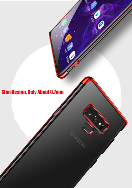 Luxury Laser Plating Utra Thin Transparent Hard Back Case Cover for Samsung Galaxy Note 9