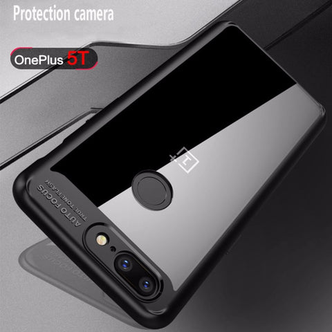 Premium Transparent Hard Acrylic Back with Soft TPU Bumper Case for OnePlus 5T - BLACK