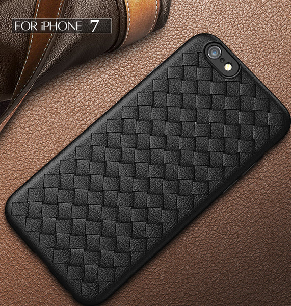 Premium Weaving Grid Breathable Soft Silicone Back Case Cover for Apple iPhone 8 - BLACK