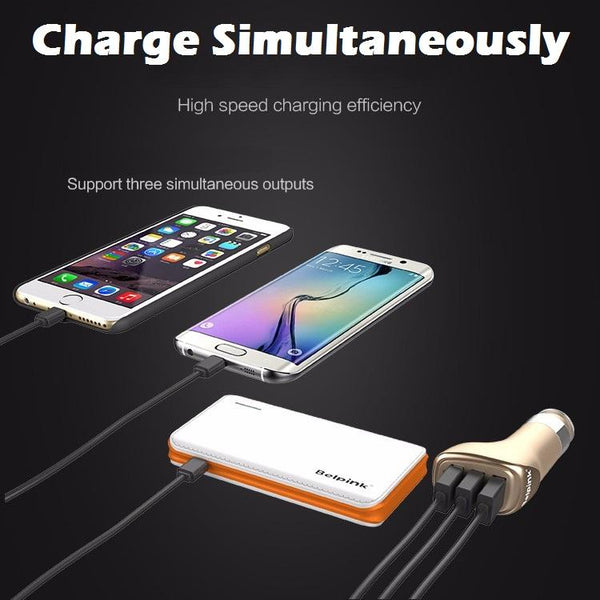 Belpink 3 USB Interface Output Multi-Port Quick Charge 3.0 Smart 5V/9V/12V Car Charger - BLACK
