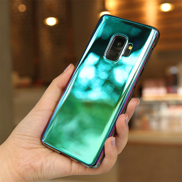Luxury Blue Ray Laser Gradient Dual Color Hard Back Case Cover for Samsung Galaxy S9
