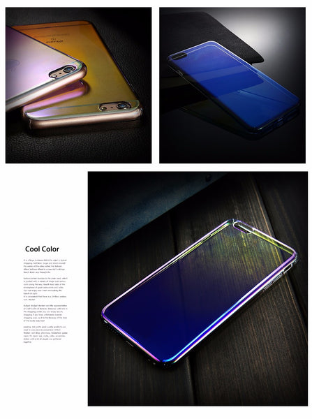 Luxury Blue Ray Laser Gradient Dual Color Hard Back Case Cover for Apple iPhone 8