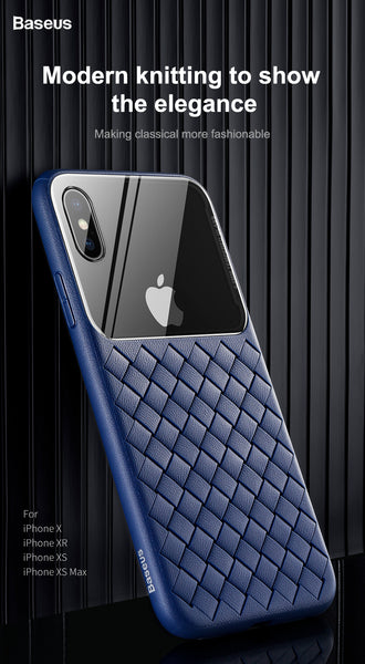 Luxury Smooth & Glossy Camera Lens Plus Weave Design Soft TPU Back Case Cover of Apple iPhone X / XS