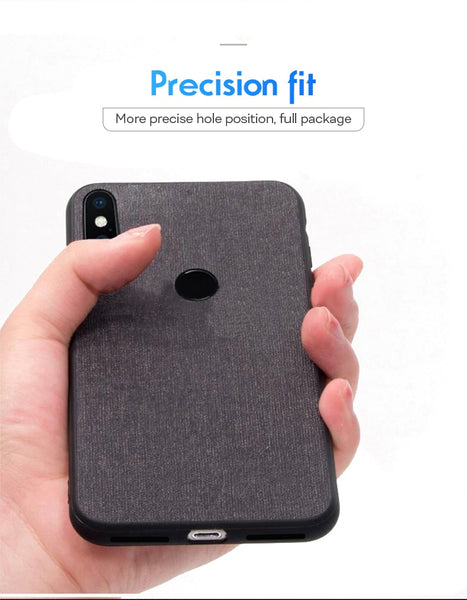 Premium Fabric Canvas Soft Silicone Cloth Texture Back Case With Back Screen Guard for Redmi Note 6 Pro
