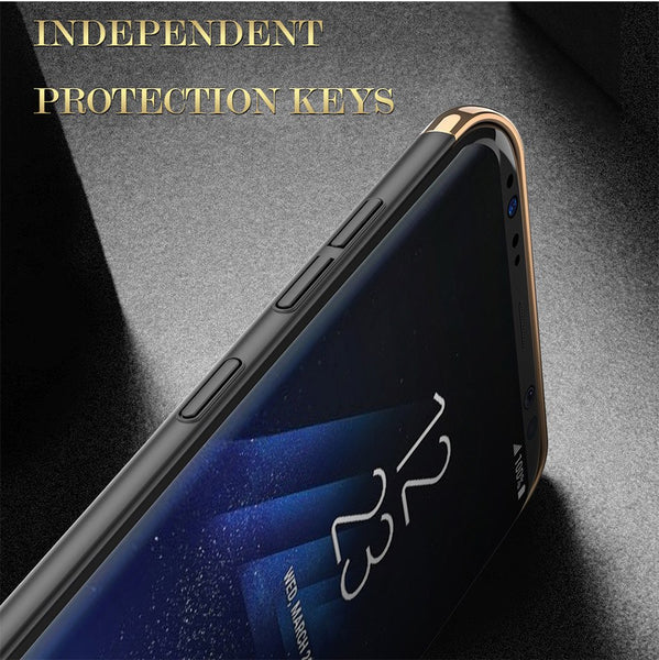 Luxury Ultra Slim 3in1 Gold Electroplating Hard Back Case Cover for Samsung Galaxy S8 - BLUE