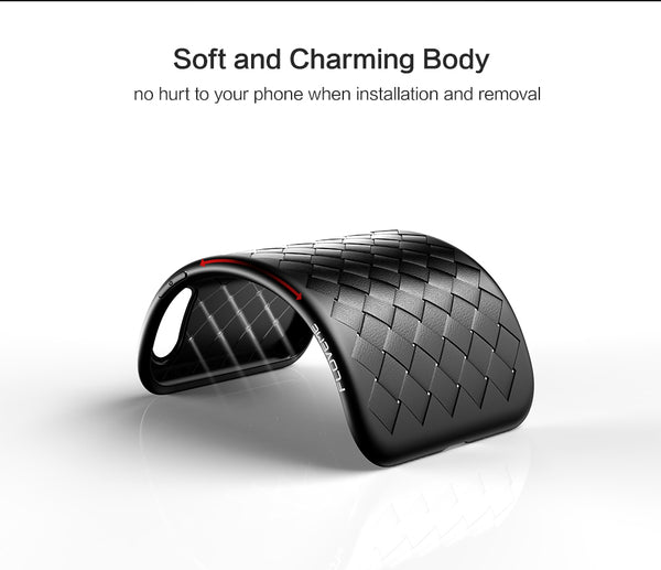 Premium Weaving Grid Breathable Soft Silicone Back Case for Apple iPhone XS Max