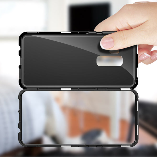 Luxury Magnetic Adsorption Metal Bumper Frame 9H Tempered Glass Back Case for Samsung Galaxy S9 Plus