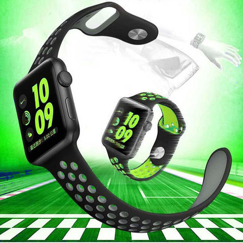 Nike Style Silicon Strap with Pores Sporty Wrist Band for Apple iWatch Series 1,2 & 3 – [38mm]