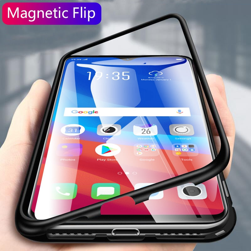 new photos d4130 a12dc Luxury Electronic Magnetic Alloy Auto Fit Glass Back Case for Oppo F9 Pro