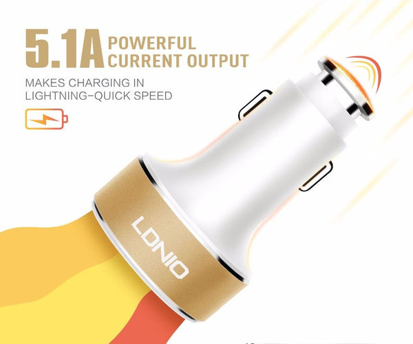 LDNIO 3 USB Port 5.1 A Quick Charge Auto-ID Fast Car Charger for iPhone, Samsung - WHITE