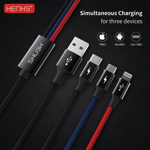 Henks® 3in1 Multiconnector 3.5Amps Fast Charging Data Sync Cable