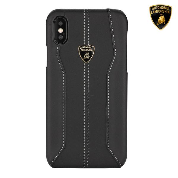 Official Lamborghini Huracan D1 Series Genuine Leather Anti Knock Back Case Cover for Apple iPhone XS Max