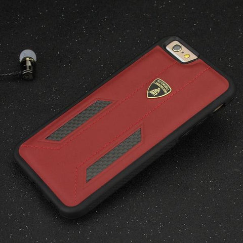 Official Automobili Lamborghini Genuine Leather & Carbon Fiber Back Case Cover for Apple iPhone 8