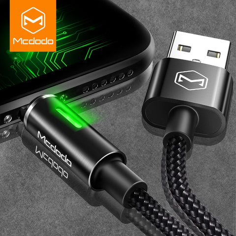 MCDODO 2nd Generation Auto Disconnect Fast Charging USB Data Sync Lightning Cable with LED Light for Apple iPhone X, 8/8 Plus, 7/7 Plus, 6/6S/6 Plus, 5/5S/5C/SE - BLACK