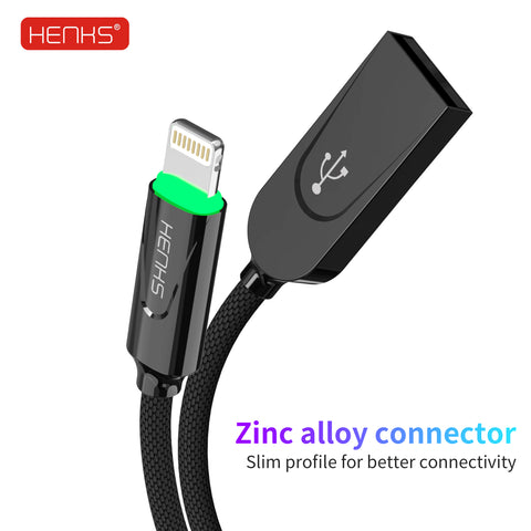 HENKS Auto Disconnect Fast Charging USB Data Sync Metal Connector Cable for Apple iPhone