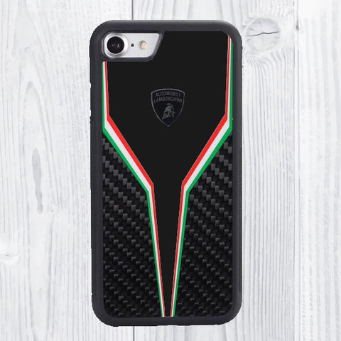Luxury Automobili Lamborghini Genuine Carbon Fiber Anti Knock Back Case Cover for Apple iPhone 8 - BLACK